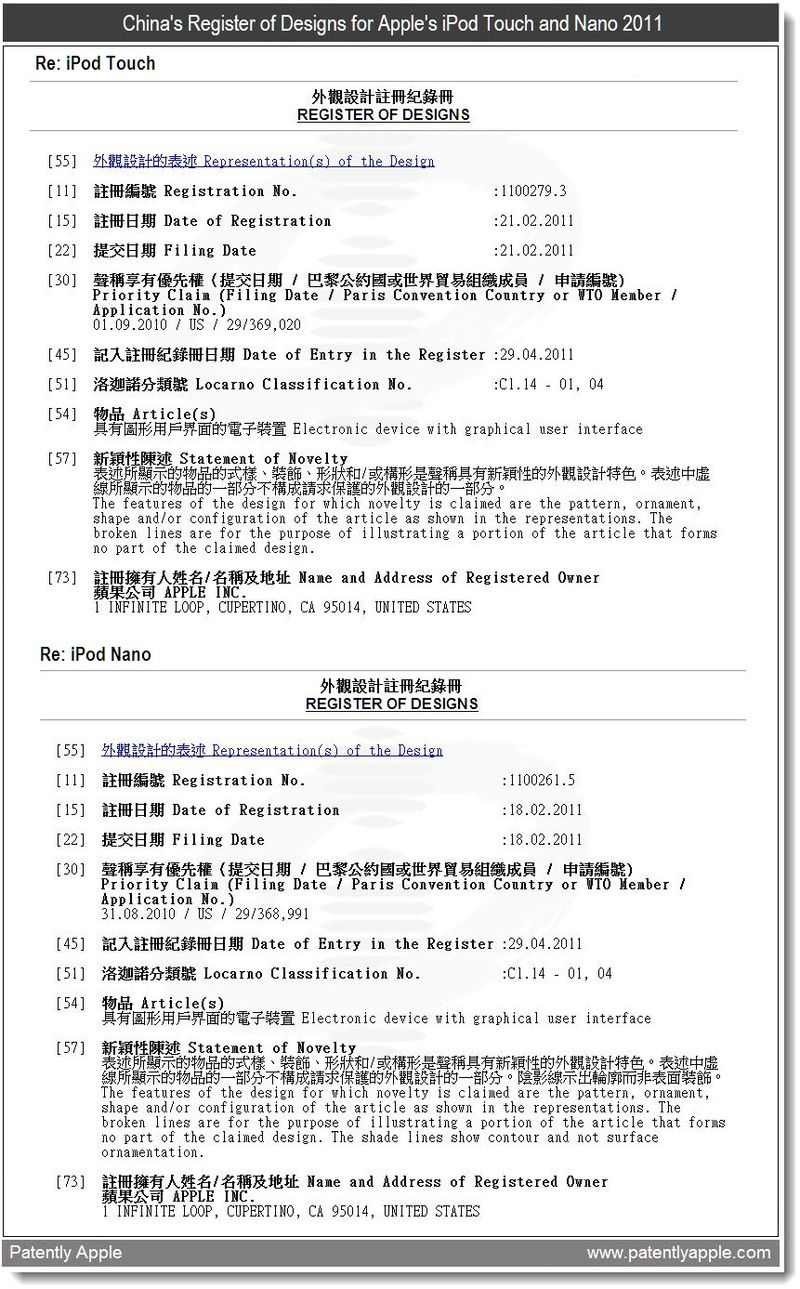 3 - China's Register of Designs for Apple's iPod Touch and Nano 2011