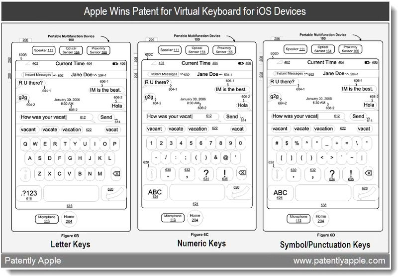 3 - Apple wins patent for virtual keyboard for iOS devices - May 2011