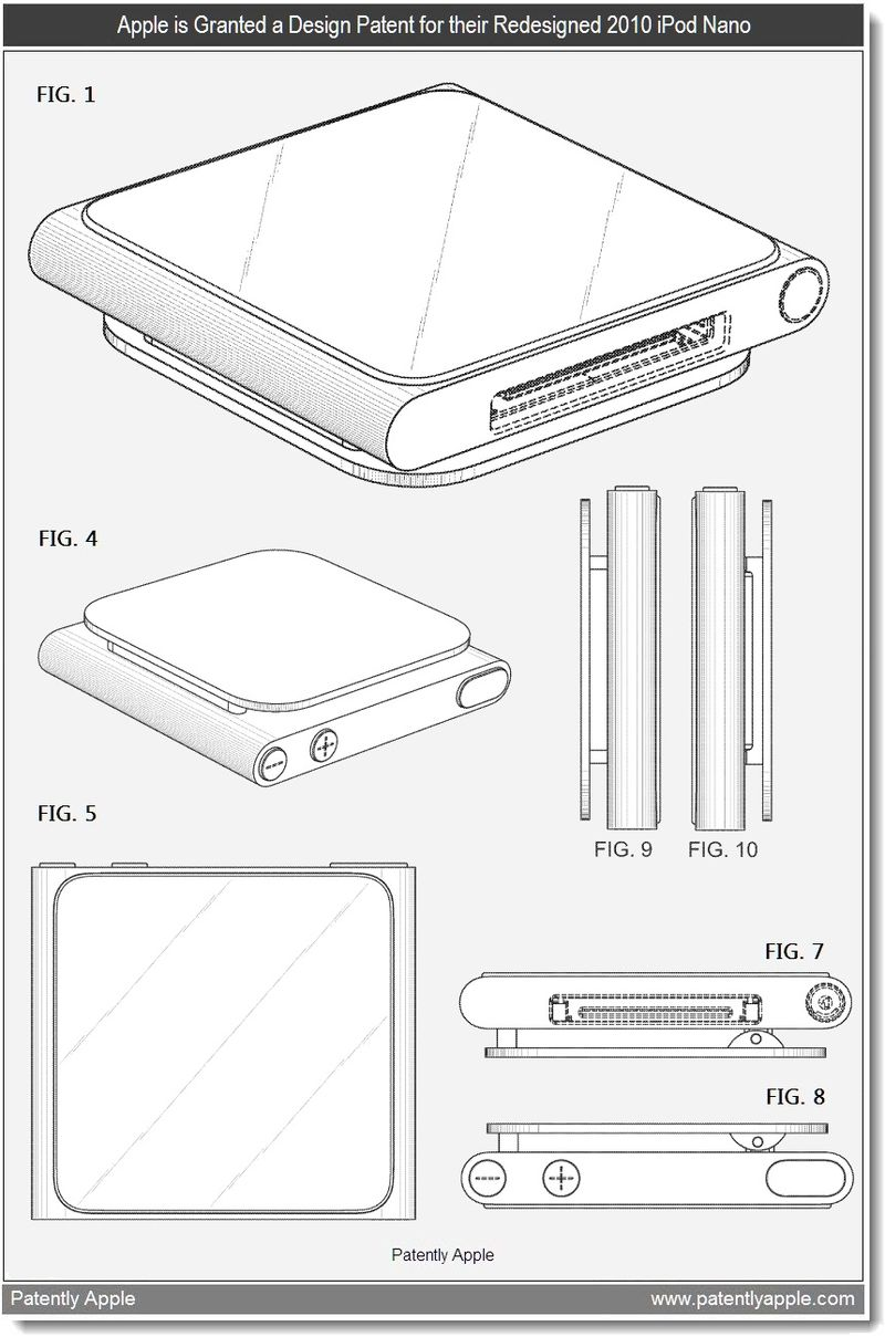 2 - Apple is granted a design patent for their 2010 redesigned iPod nano - may 2011
