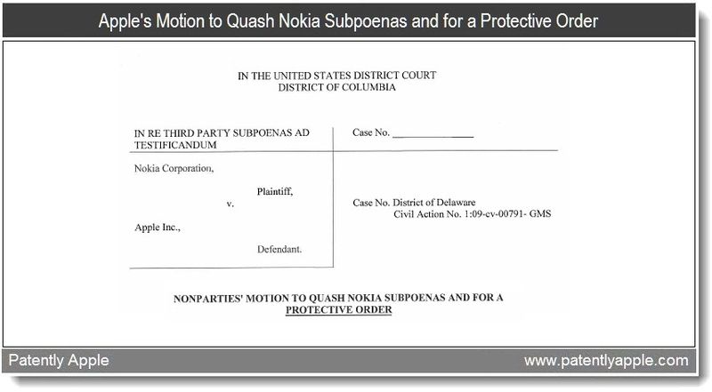 3 - Apple's Motion to Quash Nokia's Subpoenas and for a Protective Order - May 20, 2011
