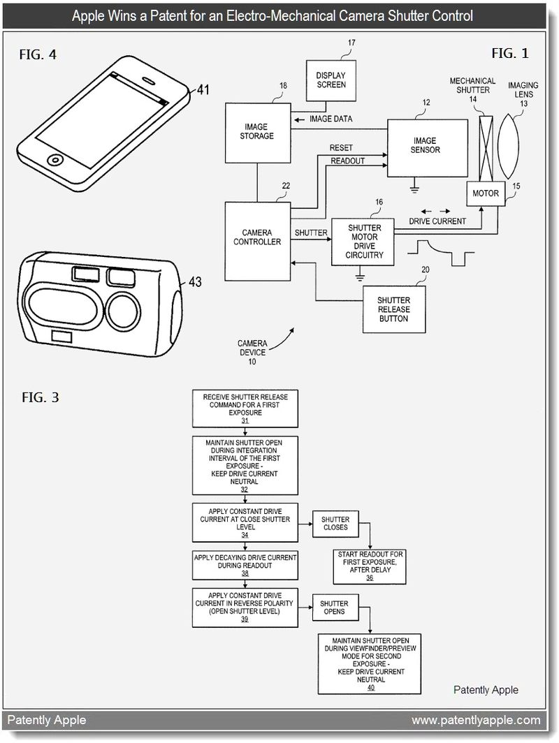 5 - Apple Wins a Patent for an Electro-Mechanical Camera Shutter Control - May 2011