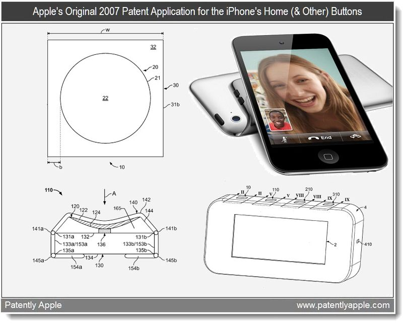 4 - Apple's original 2007 patent application for the iPhone's home and other buttons - may 2011 continuation patent