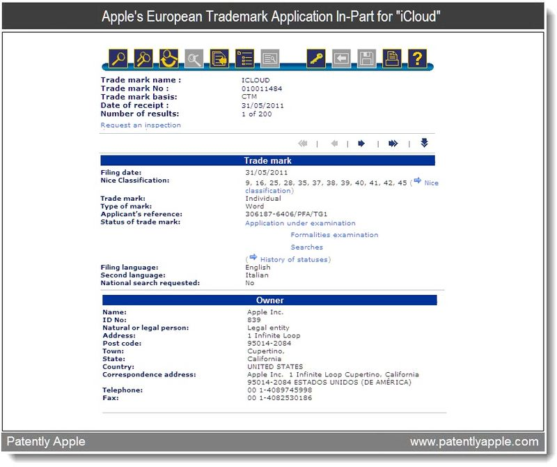 3 - Apple's European Trademark Application In-Part for iCloud - June 1, 2011