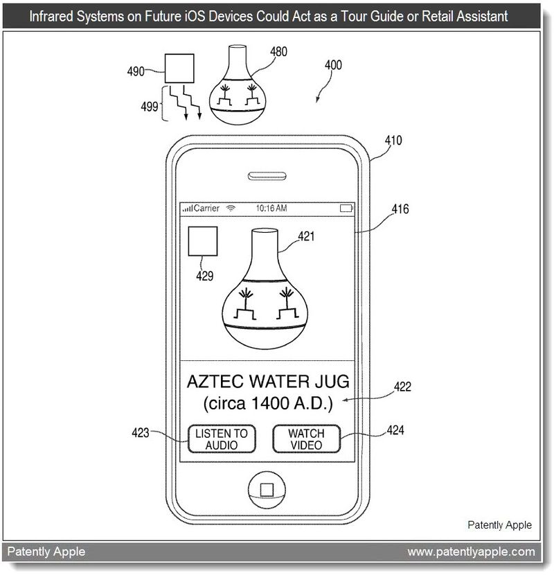 4 - Infrared Systems on Future iOS Devices Could Act as a Tour Guide or Retail Assistant - apple patent June 20111