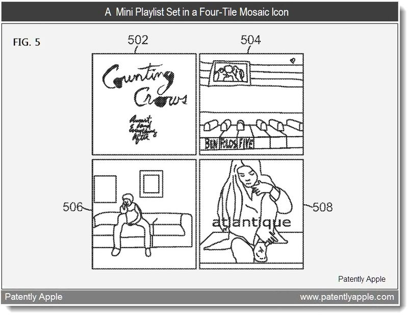 3 - A Mini Playlist Set in a Four-Tile Mosaic Icon - Apple Patent June 2011
