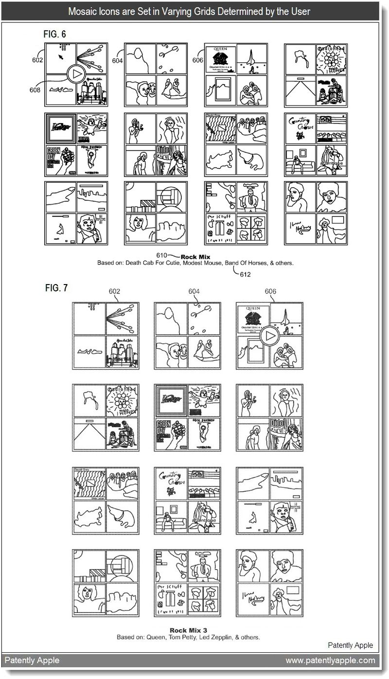 4 - Mosaic icons set in varying Grids - Apple patent application 2011