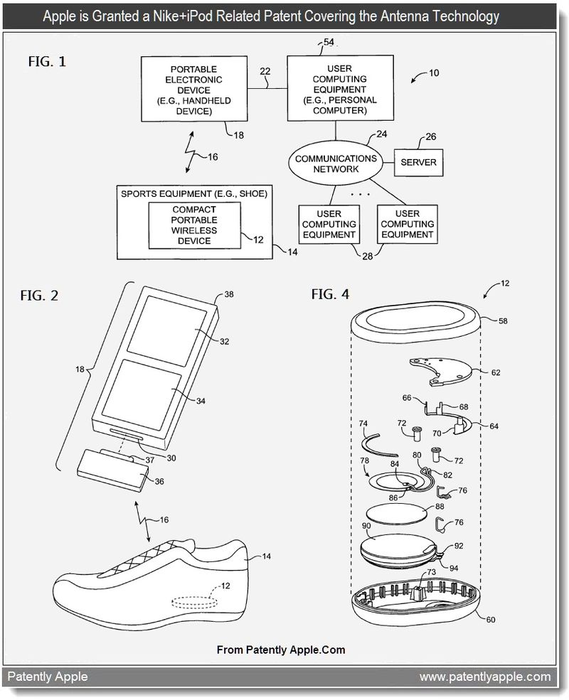 3 - Apple is granted a patent relating to the Nike + iPod antenna technology - June 2011, Patently Apple