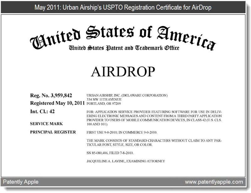 2 - Urban Airship's USPTO Registration Certificate for AirDrop Ownership May 2011 - June 2011 transfer to Apple