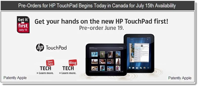 1 - Pre-Orders for HP TouchPad Begins Today in Canada for July 15th Availabilty
