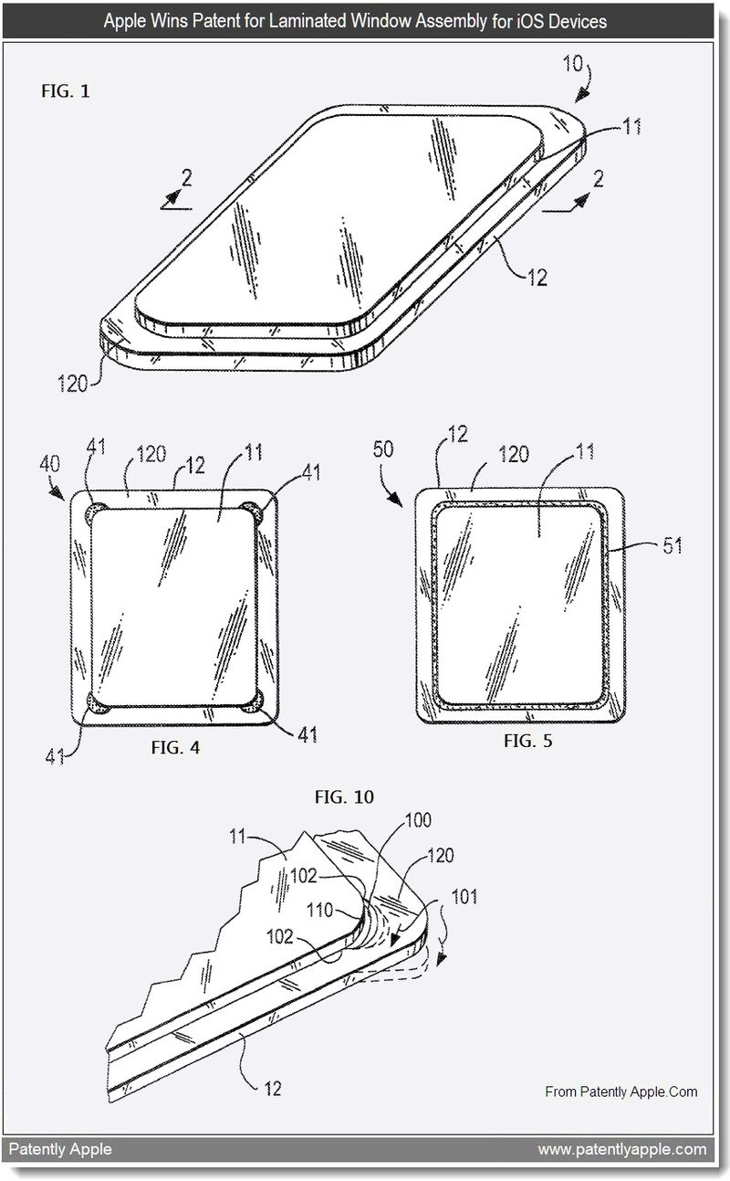 3 - Apple Wins Patent for Lamiated Window Assembly for iOS Devices - June 2011, Patently Apple