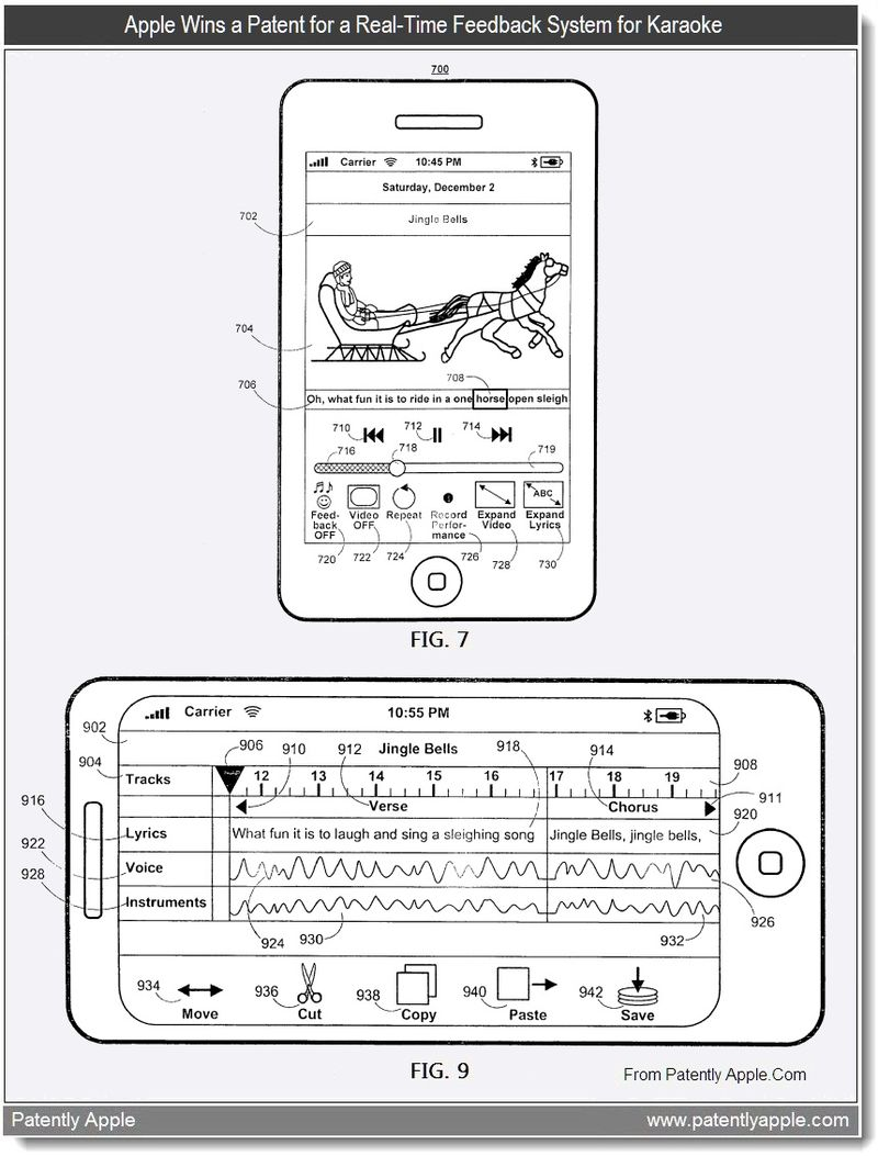 3 - Apple Wins a Patent for a Real-Time Feedback System for Karaoke - July 2011, Patently Apple