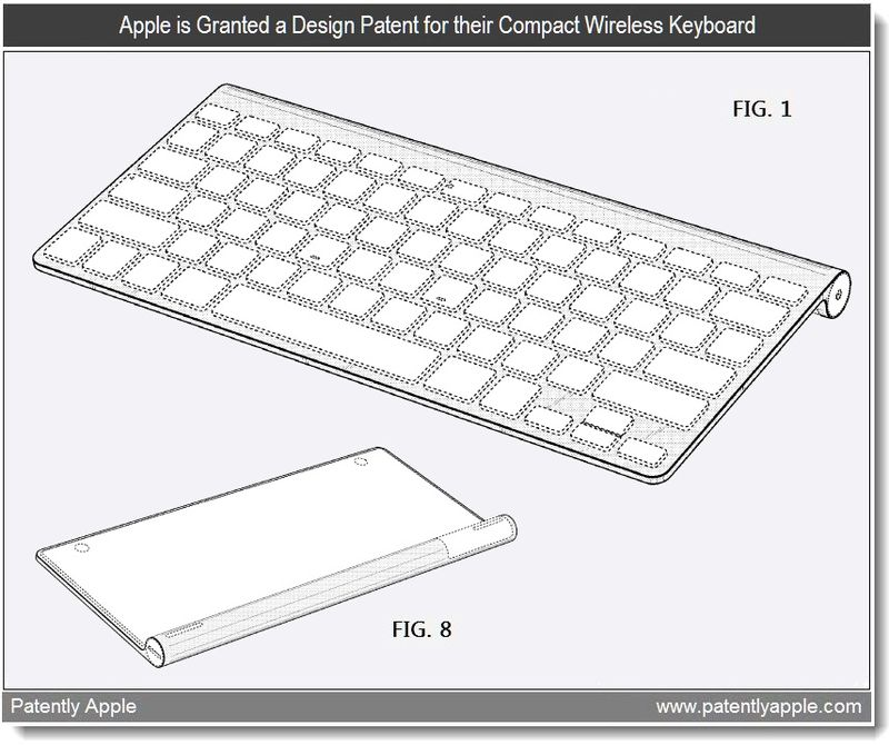 4 - Apple is Granted a Design Patent for their compact wireless keyboard, July 2011, Patently Apple