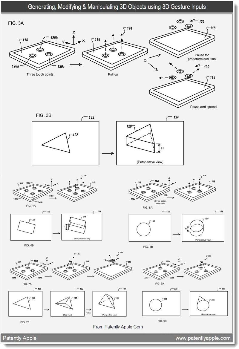 3 - generating modifying & manipulating 3d objects using 3D gesture inputs, apple patent, July 2011, Patently Apple