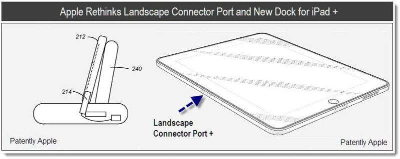 1 X - Apple Rethinks Landscape Connector Port and New Dock for iPad +, July 2011, Patently Apple