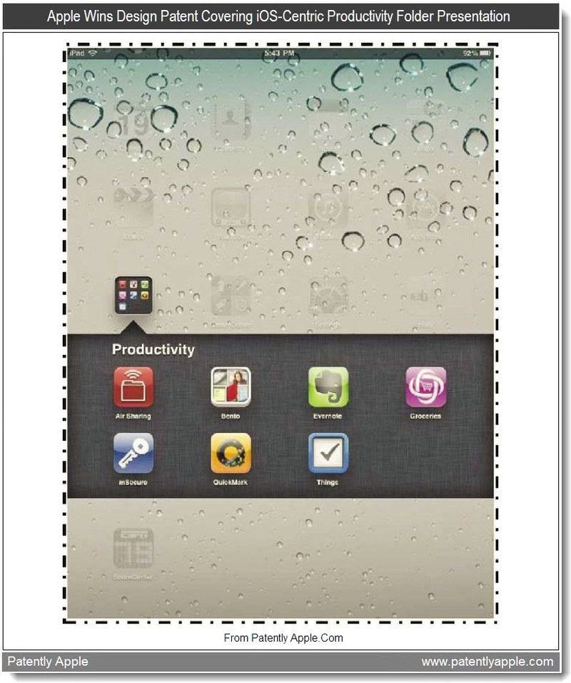 4 - Apple Wins Design Patent Covering iOS-Centric Productivity Folder Presentation, July 2011, Patently Apple
