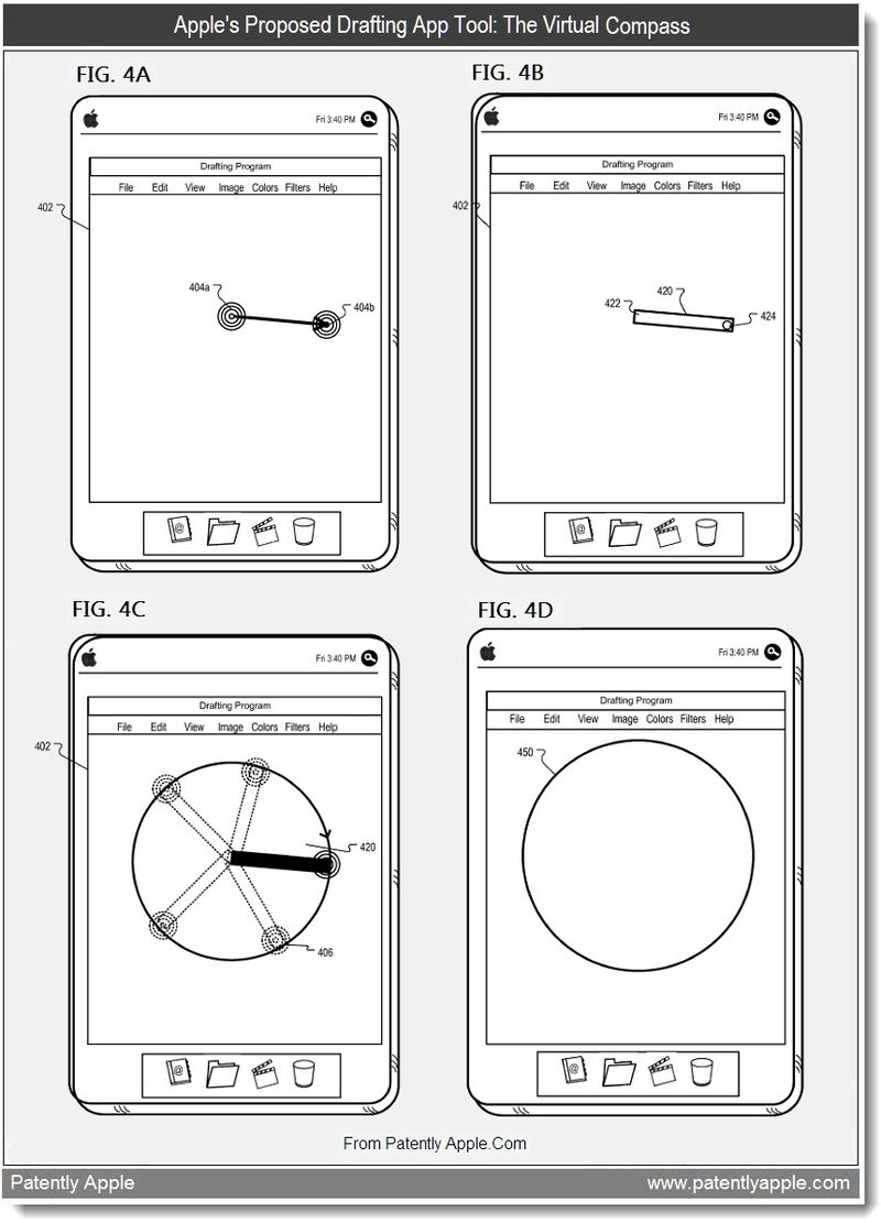 5 - Apple's proposed drafting app tool - the virtual compass, July 2011, Patently Apple