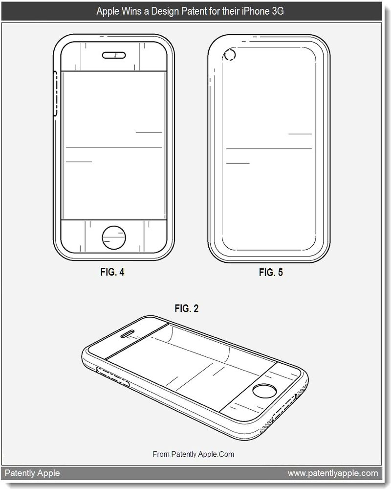 3 - Apple Wins a Design Patent for their iPhone 3G, July 2011, Patently Apple