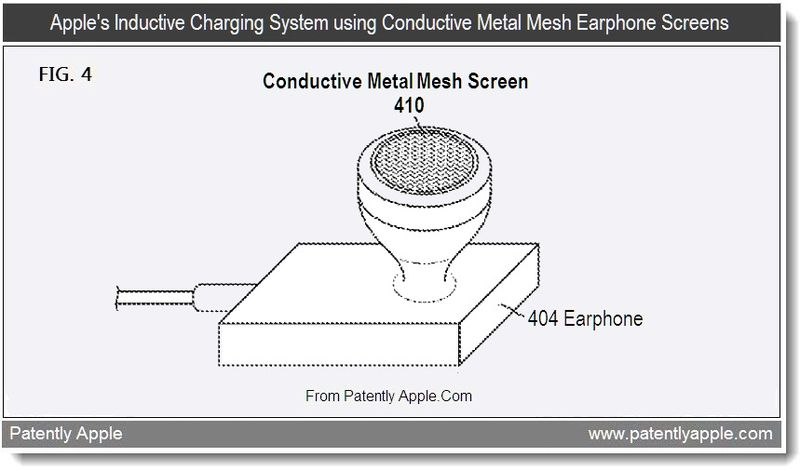 3 - Apple's inductive charging system using conductive metal mesh earphone screens, Aug 2011, Patently Apple