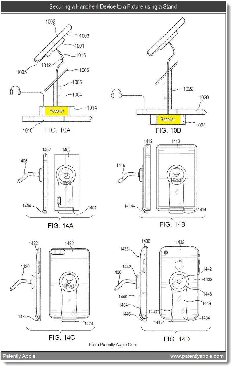 4 - Securing a Handheld Device to a Fixture using a Stand, Aug 2011, Patently Apple