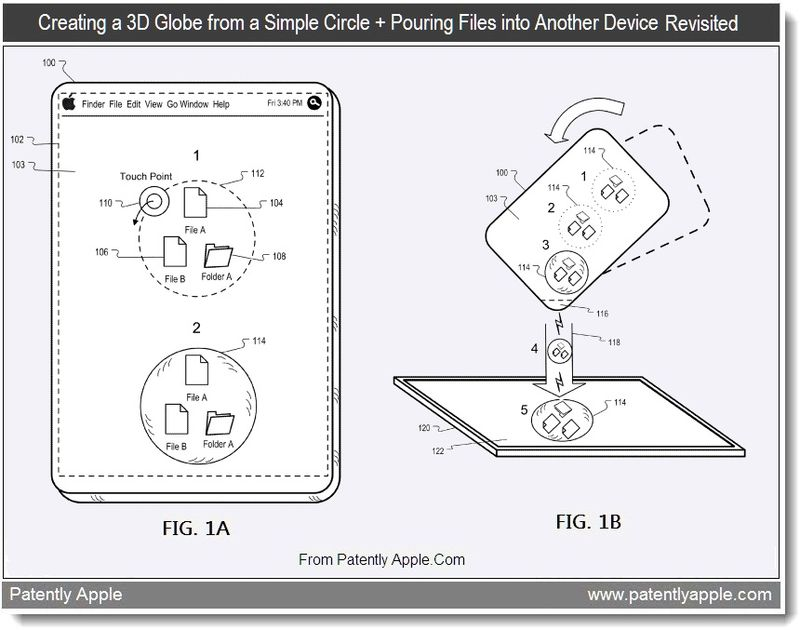 5 - creating a 3D globe from a simple circle + pouring files into another device revisted, Aug 2011, Patently Apple