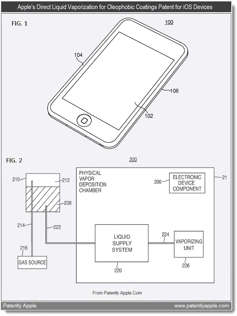 4 - Apple's direct liquid vaporizatioin ofr oleophobic coatings patent for iOS Devices, Aug 2011, Patently Apple