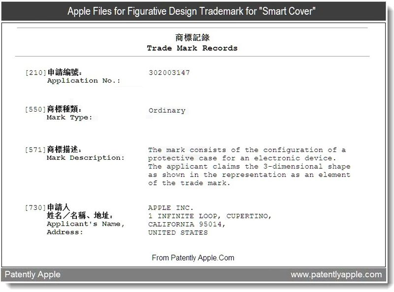 3 - Apple files figurative design trademark for smart cover, aug 2011, Patently Apple