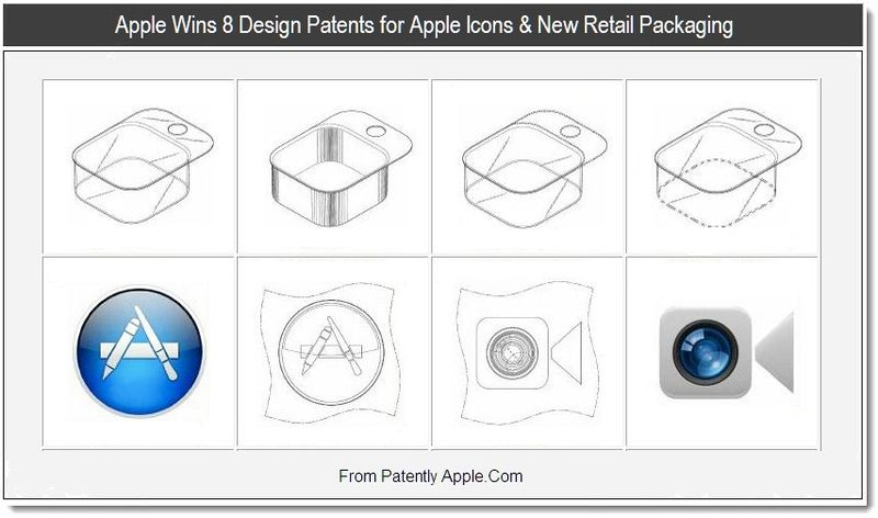 1B - Apple Wins 8 Design Patents for Apple Icons & New Retail Packaging, Aug 27, 2011, Patently Apple Website