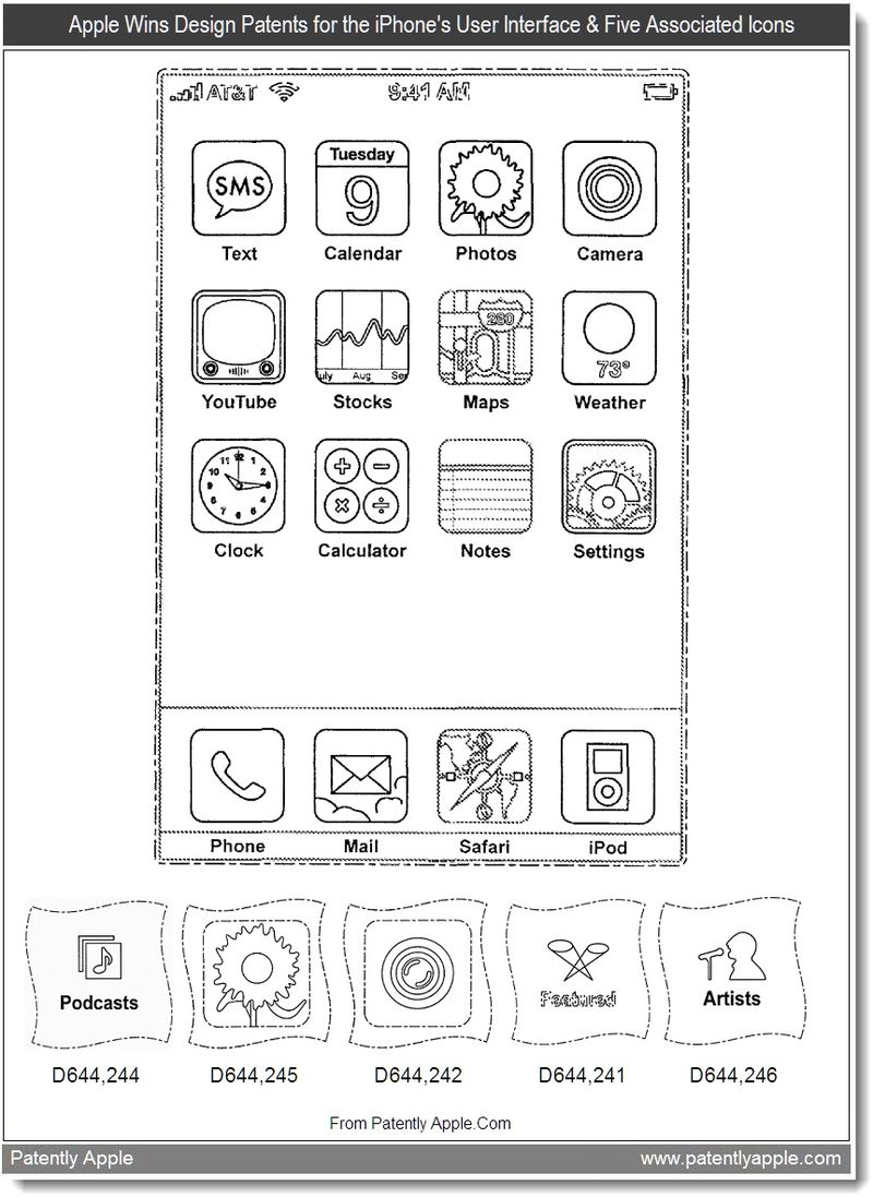 4 - Apple Wins Design Patents for the iPhone's User Interface & Five Associated Icons, Aug 2011, Patently Apple blog