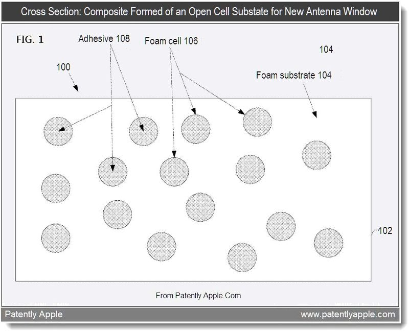 2 - Cross Section - Composite Formed of an Open Cell Substrate for New Antenna Window, Sept 2011, Patently Apple Blog