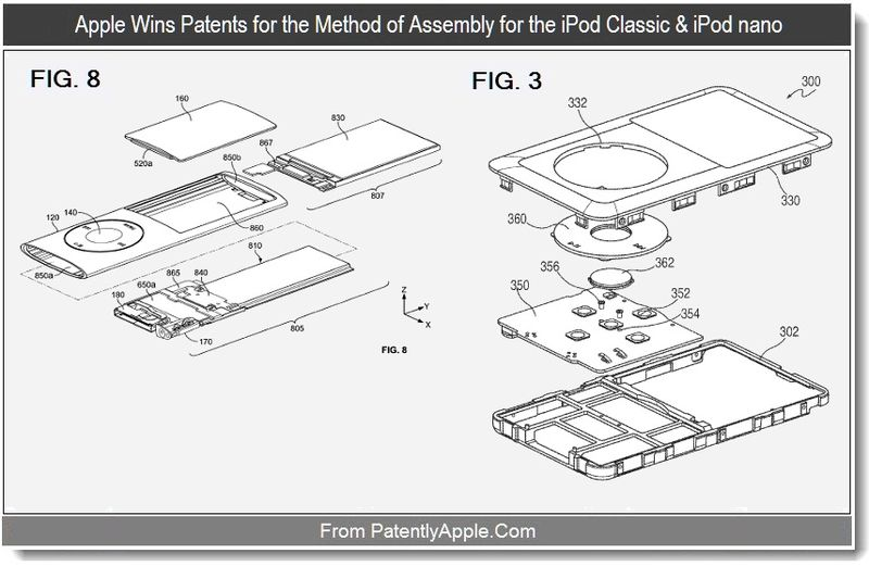 4 - Apple Wins Patents for the method of assembly for the iPod Classic & iPod Nano, Sept 2011, Patently Apple blog