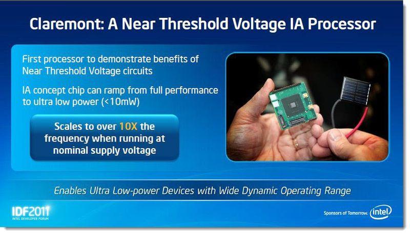 4 - Solar Power - Clarement - A Near Threshold Voltage IA Processor demo IDF, Sept 2011