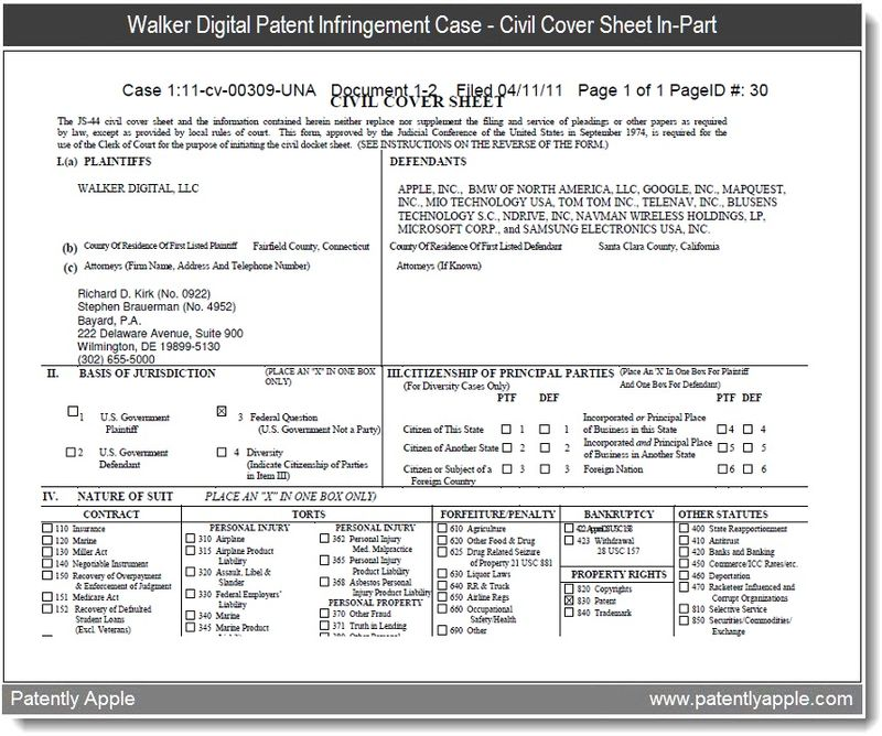 3 - walker digital patent infringement case - civil cover sheet in- part - re gps iPhone case against apple - aprl 2011