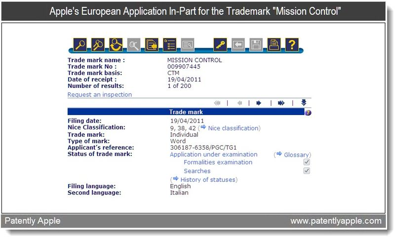 4 - Apple's Euro TM filing for Mission Control - part of OS X Lion - April 2011