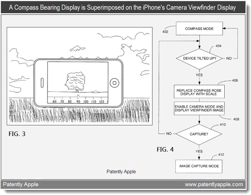 3 - A Compass beearing display is superimposed on the iPhone's Camera Viewfinder Display - apple patent april 2011