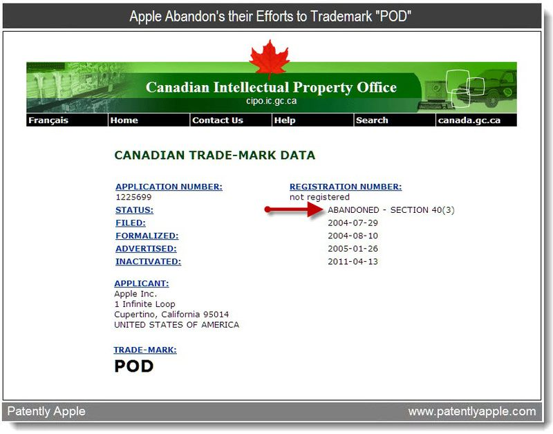 2 - Apple Abandon's their Efforts to Trademark POD - April 2011 Canadian TM Office