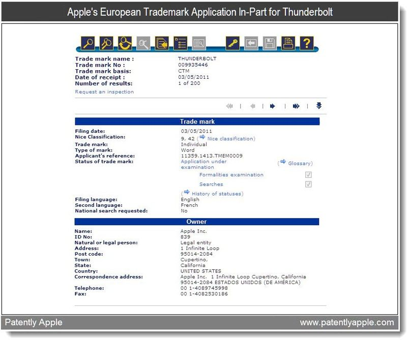 2 - Apple's European TM Application In-Part for Thunderbolt - may 2011