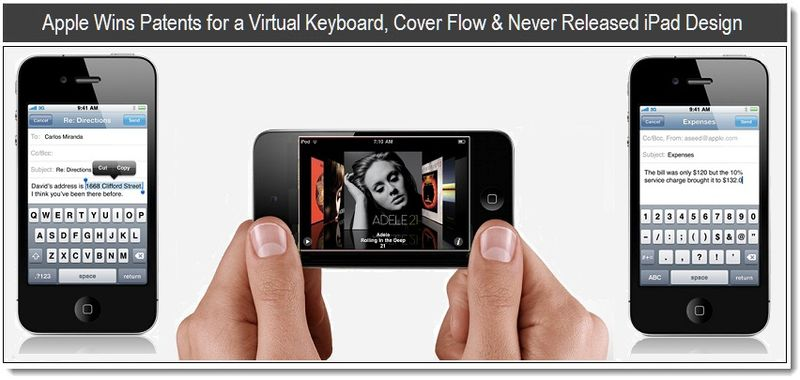 1- Apple Wins Patents for a Virtual Keyboard, Cover Flow & Never Released iPad Design - May 10, 2011