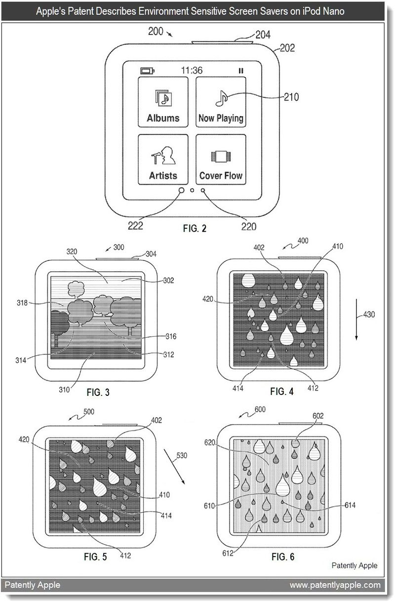 2 - Apple's Environment Sensitive Screen Savers for iPod Nano-like Devices Patent - may 2011