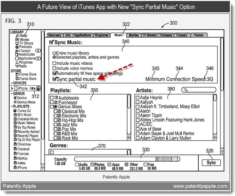 3b - A Future View of Your iTunes App wit New Options - Sync Partial Music - apple patent may 2011