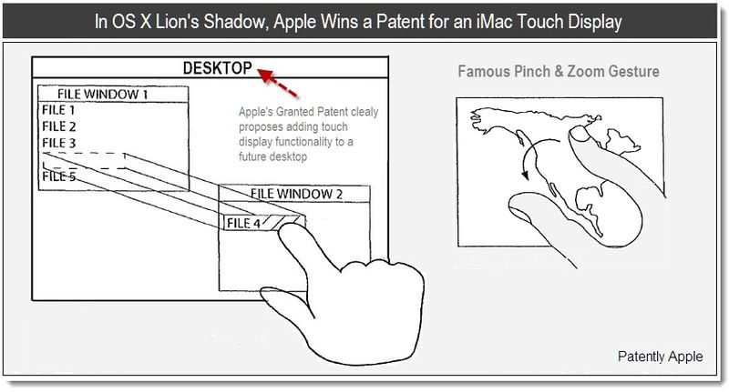 1 - June 7, 2011 - In OS X Lion's Shadow, Apple Wins a Patent for an iMac Touch Display