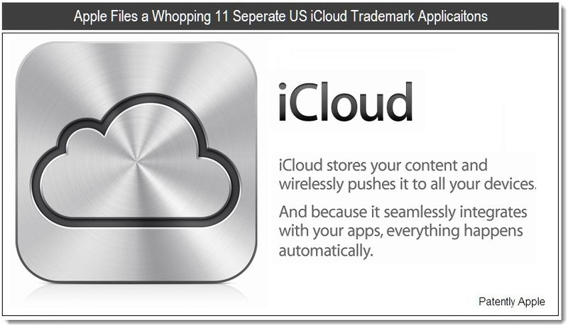 1 - Apple Files a Whopping 11 Seperate US iCloud Trademark Applications - June 7, 2011