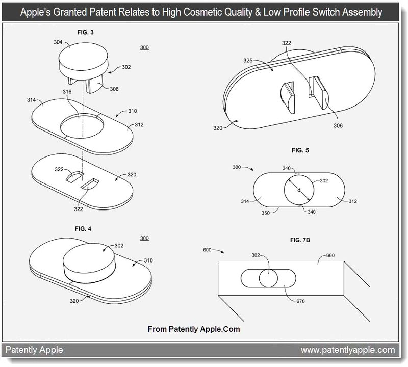 3 - Apple's granted patent relates to Cosmetic Quality low profile switch assembly for iOS devices - June 2011 Patently Apple