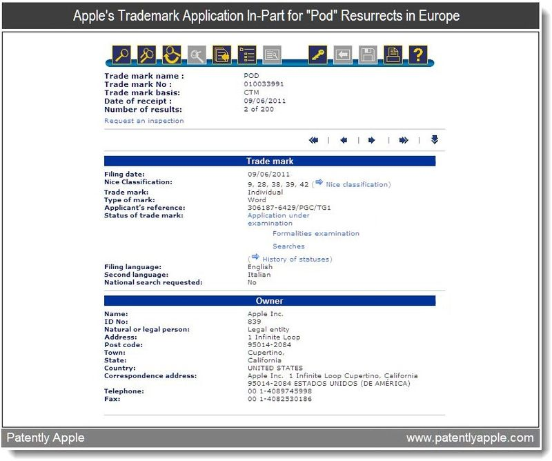 4 - Apple's trademark application in-part for Pod resurrects in Europe, June 2011, Patently Apple