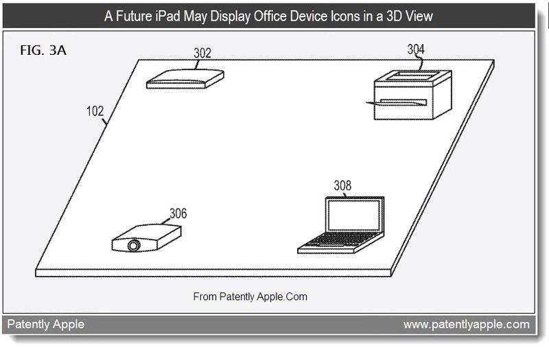 3 - A Future iPad May Display Office Device Icons in a 3D View - Apple patent, June 2011, Patently Apple