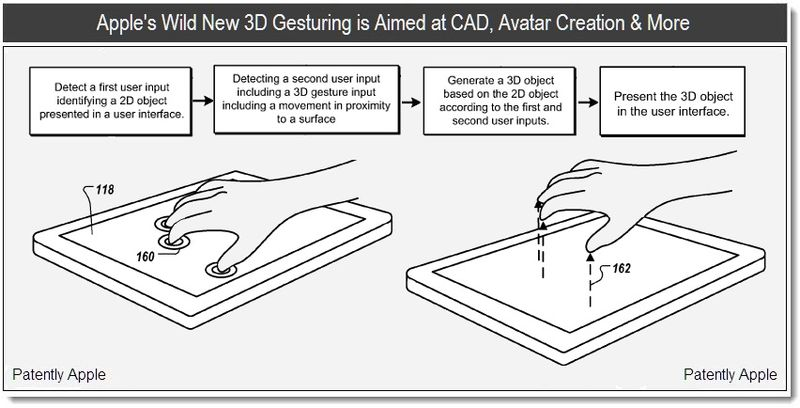 1 - Apple's Wild New 3D Gesturing is Aimed at CAD, Avatar Creation & More - Patently Apple July 2011