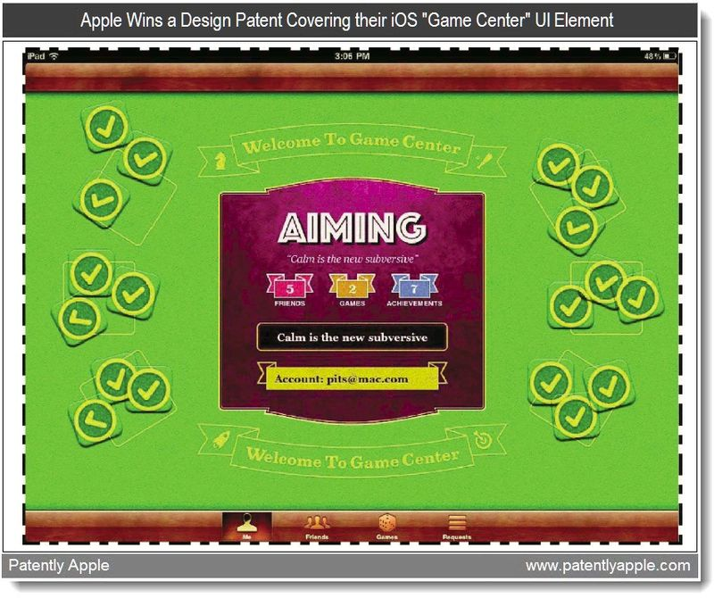 5 - Apple Wins a Design Patent Covering their iOS Game Center UI Element, July 2011, Patently Apple