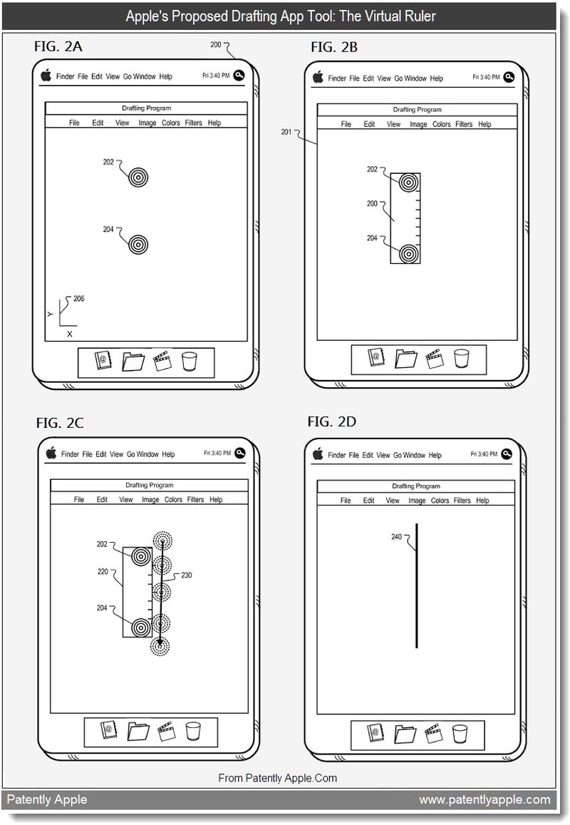 3 - Apple's proposed drafting app tool - the virtual ruler, July 2011, Patently Apple