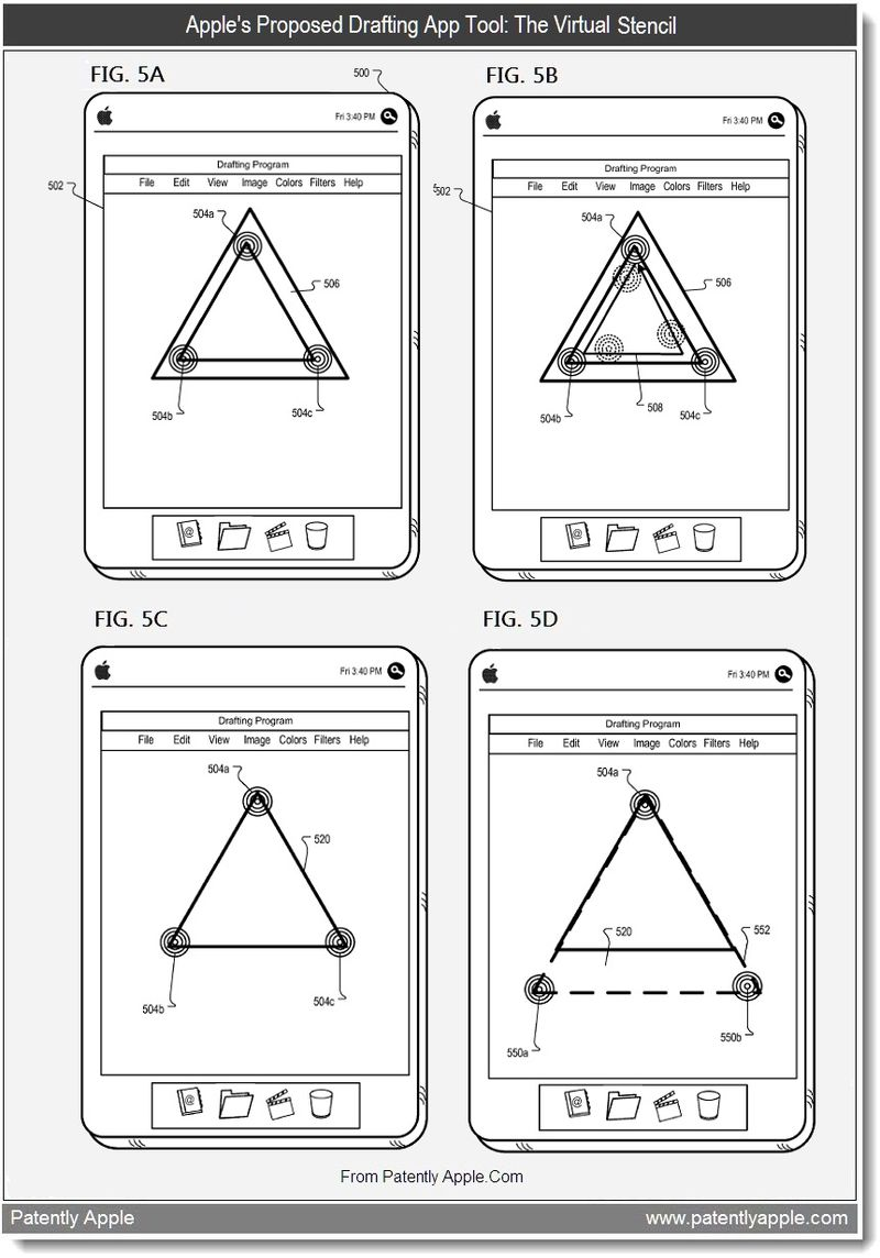 6 - Apple's proposed drafting app tool - the virtual stencil, July 2011, Patently Apple