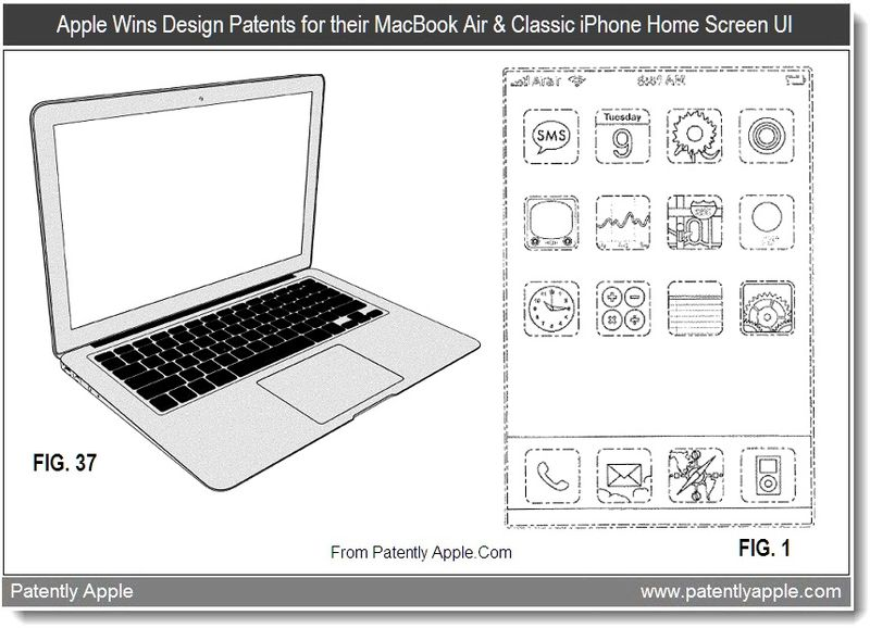 3 - Apple Wins design patents for their Macbook air & classic iphone home screen ui, Aug 2011, Patently Apple