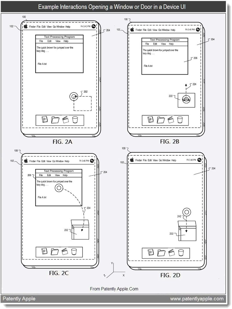 3 - Example interactions opening a window or door in a device UI, Apple, Aug 2011, Patently Apple